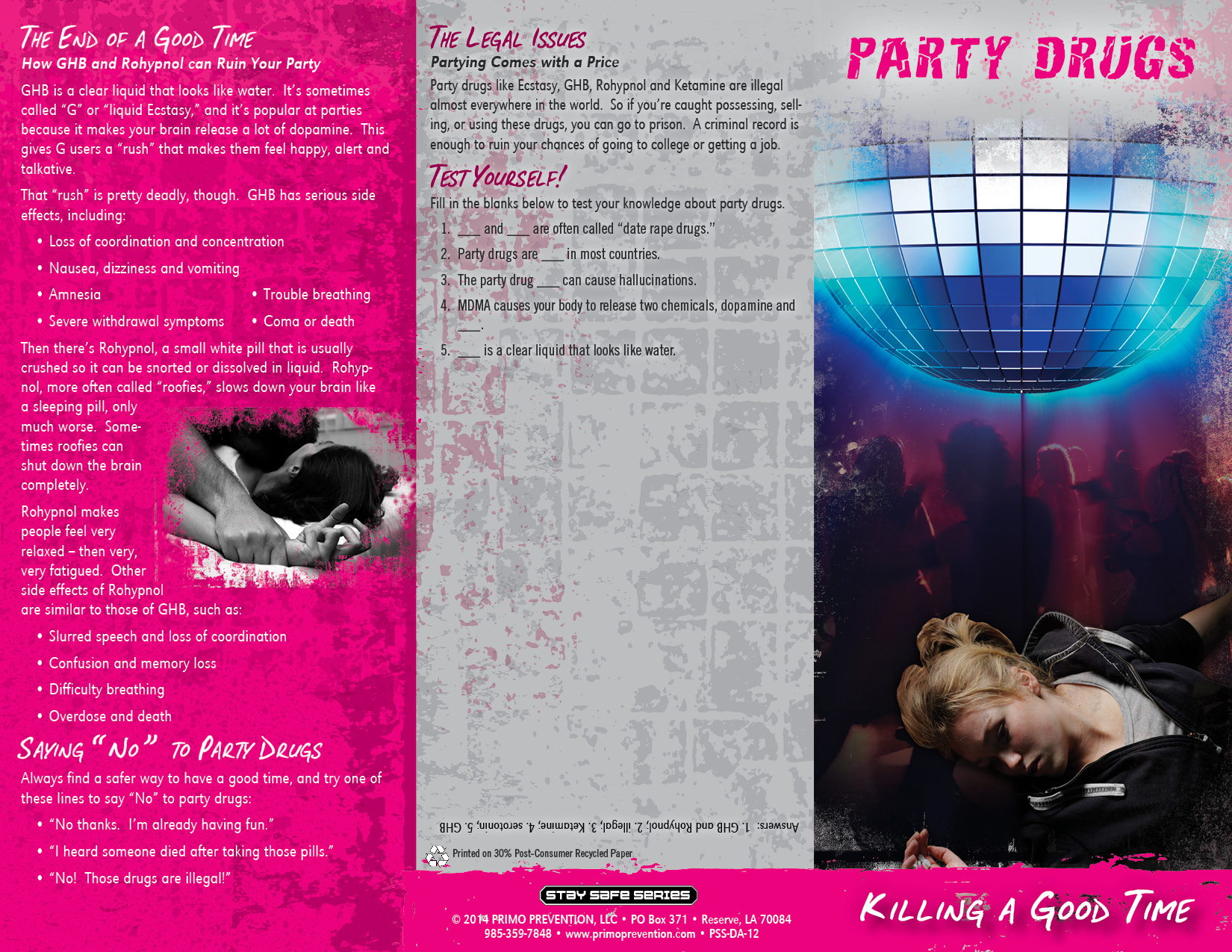 drug brochure template - party drugs killing a good time pamphlet primo prevention