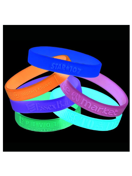 Glow In The Dark Custom Debossed Silicone Wristband