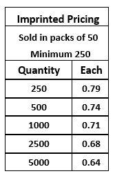 Pocket Slider Imprinted Pricing