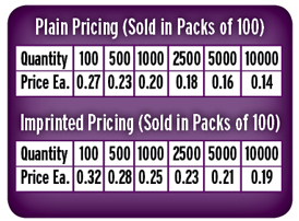 Price Guide Rack Cards