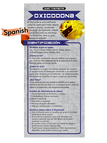 Oxycontin Spanish rack card