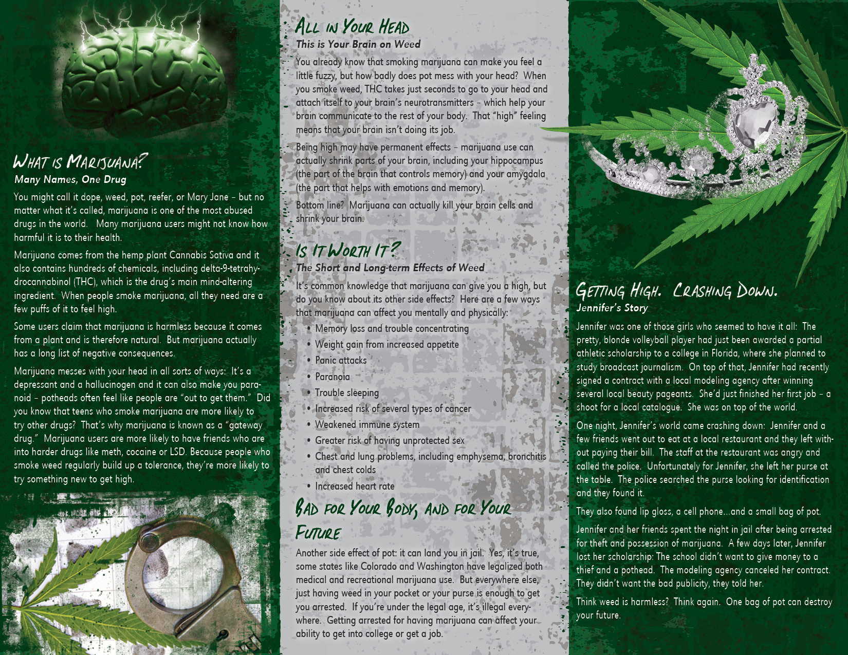 a description of the three sides to the effects of marijuana usage Webmd examines marijuana use, including the physical and psychological effects as well as risks associated with the illegal drug commonly called.