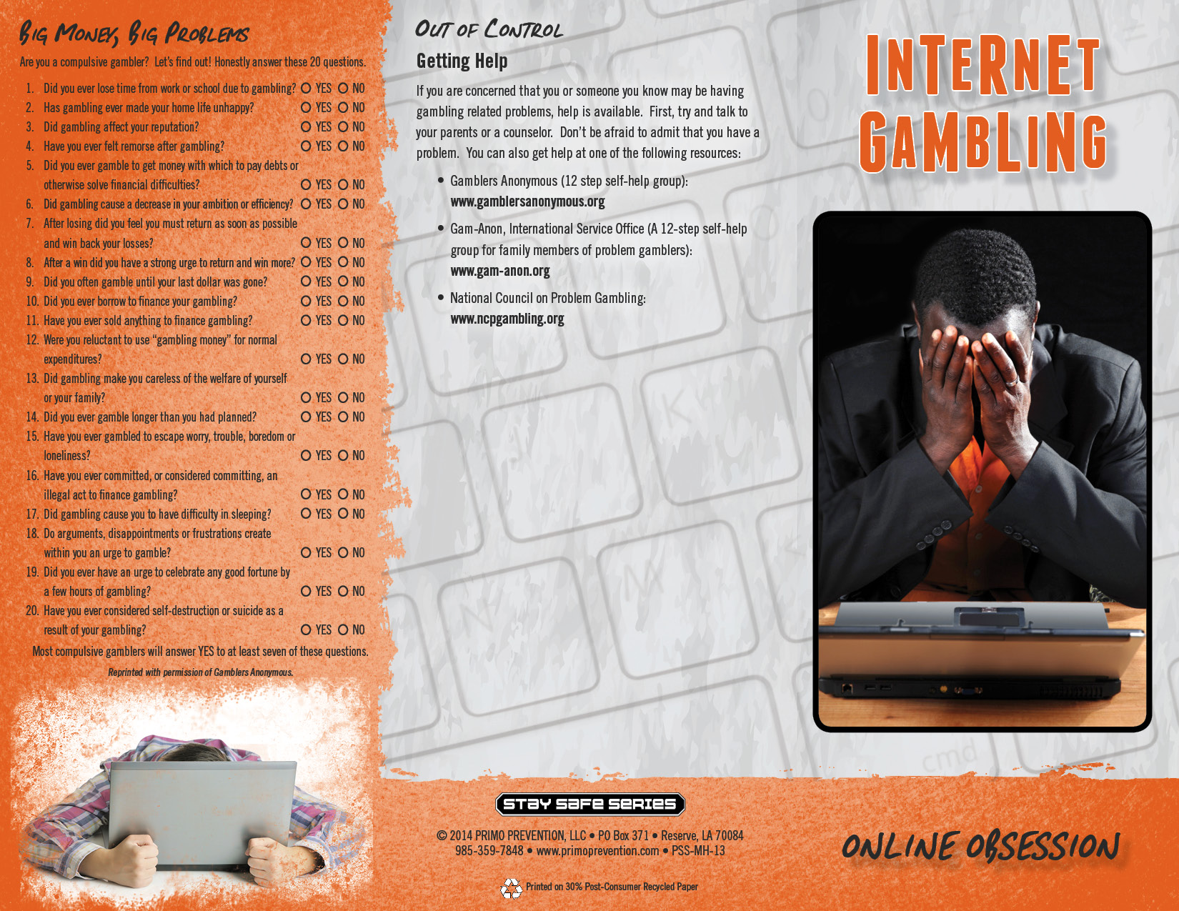 Internet Gambling: Online Obsession Pamphlet