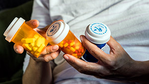 Pills bottles that teens use for opioid abuse